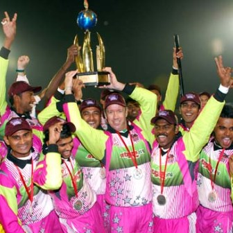 Players of Chennai Superstars celebrating after they won ICL Twenty-20 tournament in the finals defeating Chandigarh Lions played at Panchkula on Sunday.