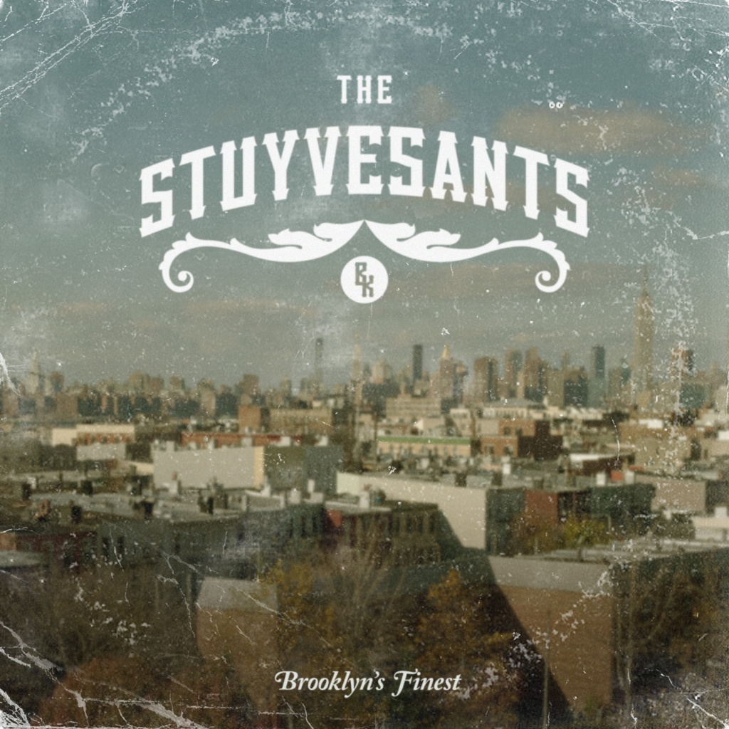 """Album cover, The Stuyvesants, """"Brooklyn's Finest."""" The square image of a Brooklyn cityscape has been digitally treated to resemble a beat-up vinyl album cover."""