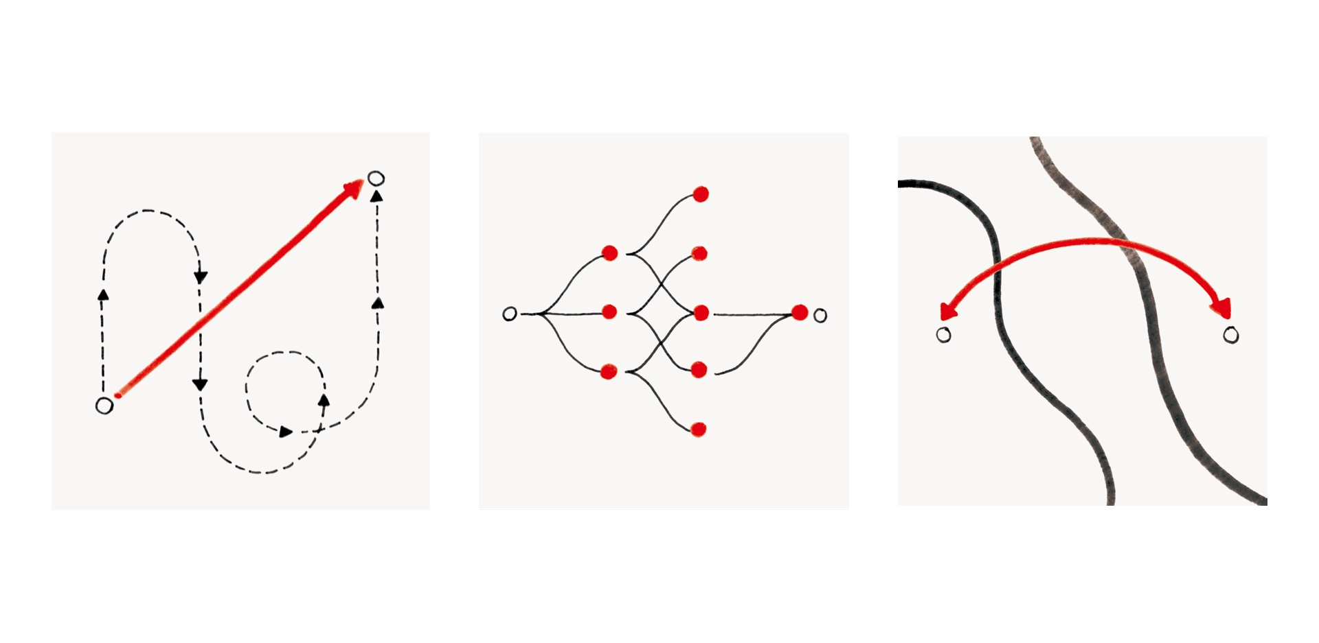 Three abstract illustrations showing speed, experimentation and connection