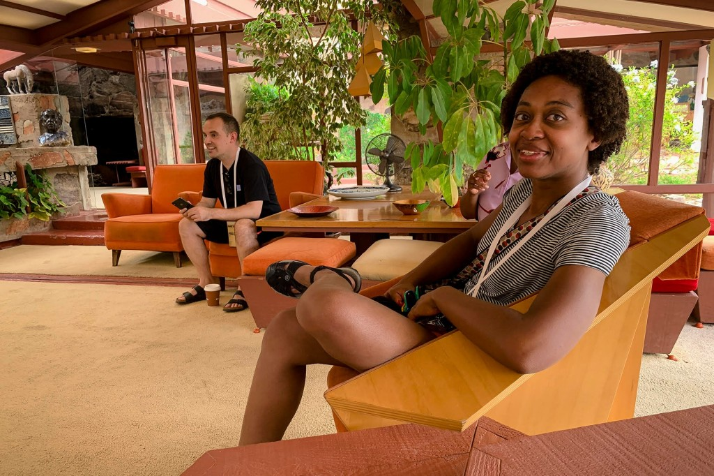 Michelle relaxes during a tour of Frank Lloyd Wright's School of Architecture in Arizona—a trip that was part of an Automattic Design Team meetup in 2019.